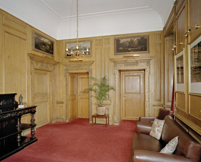 Interior. Inner Hall showing carved panelling and doors.