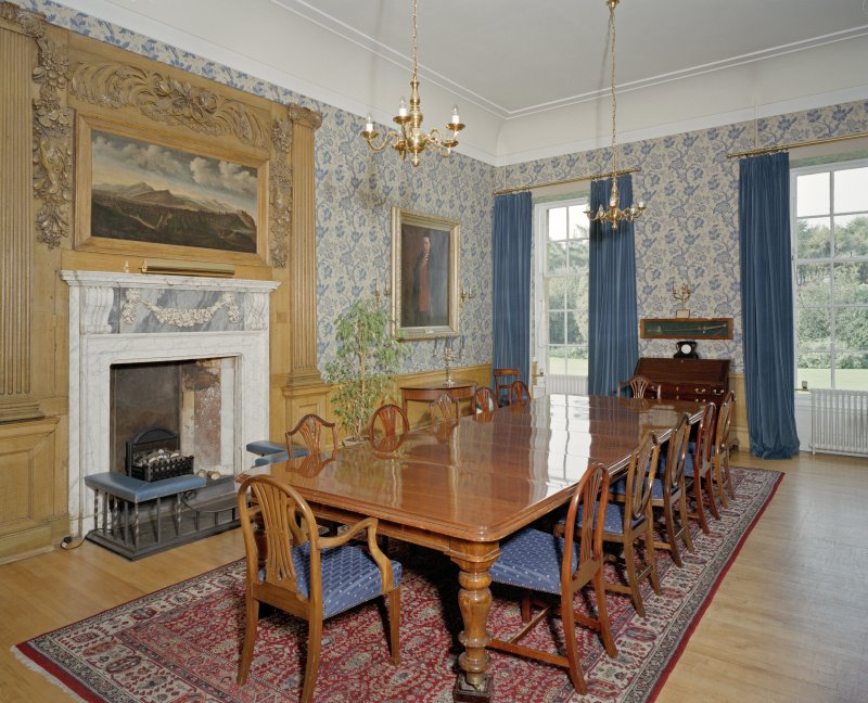 Interior. General view of Blue Room, with fireplace from NW