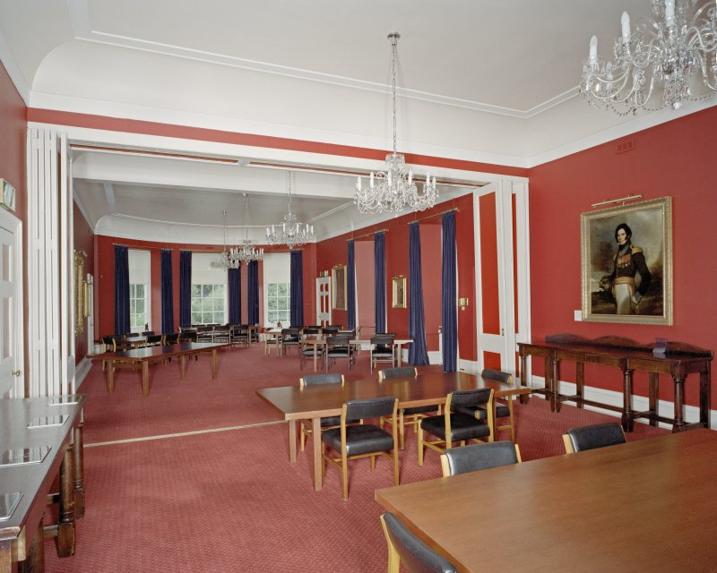 Interior. Main Dining room showing room dividing screen folded back.