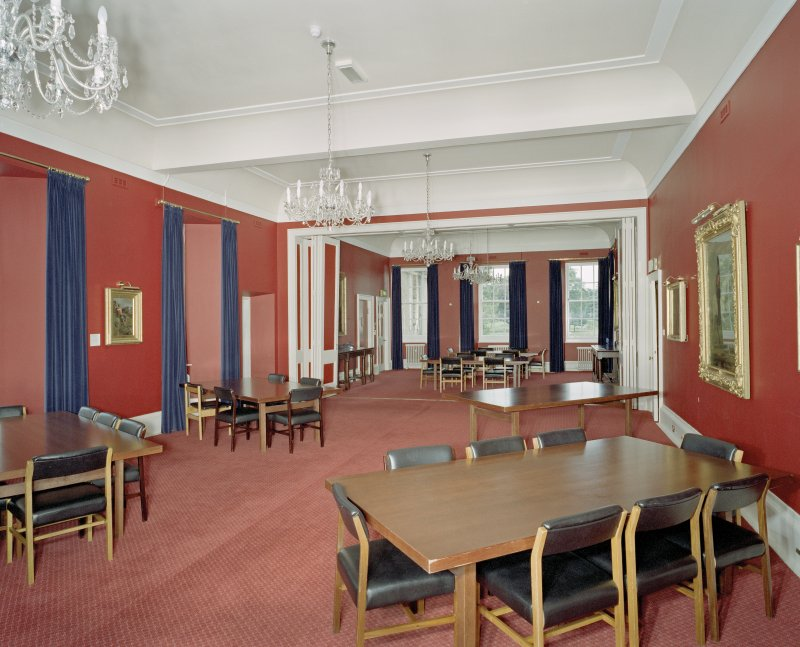 Interior. Main dining room from N showing folding screen division.