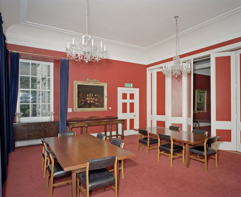 Interior.  Main Dining room in David Bryce extension showing folding screen.
