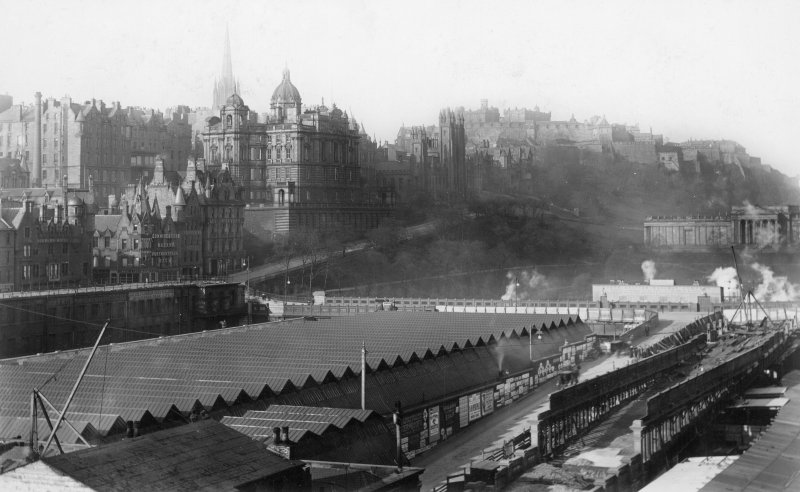 View of Waverley Station, Edinburgh, from W, with Edinburgh Castle visible in the background.