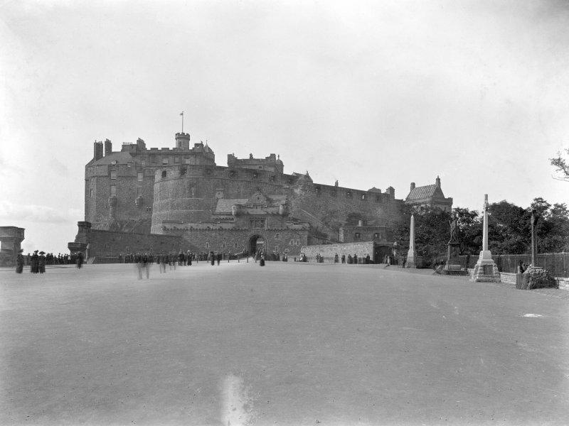 Historic photograph. General view of Castle and Esplanade from S. Mount signed: 'Thomas Ross' and inscribed: 'Edinburgh Castle.  December 1912.'