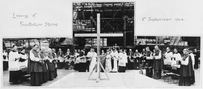 Archbishop Scanlan laying the foundation stone before the 'entire hierarchy of Scotland', 8 September 1964. In central group, immediately to the left of cross: Professor James McShane (in white) and Rector Connolly. In left hand group, front row: Archbishop Grey (left) with Bishop McGhee of Galloway behind. In right hand group, fron t row, from left: Bishop Ward, Bishop Hart of Dunkeld, Bishop Black of Paisley, in right hand group, at centre of back row: Father James McMahon.