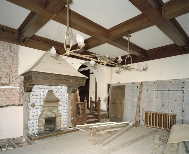 Interior. Lower ground floor, view of NW  billiard room
