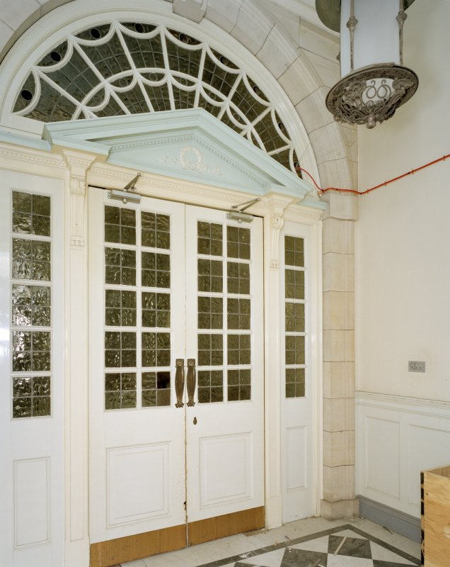 Interior. Ground floor, view of entrance hall with glazed doors
