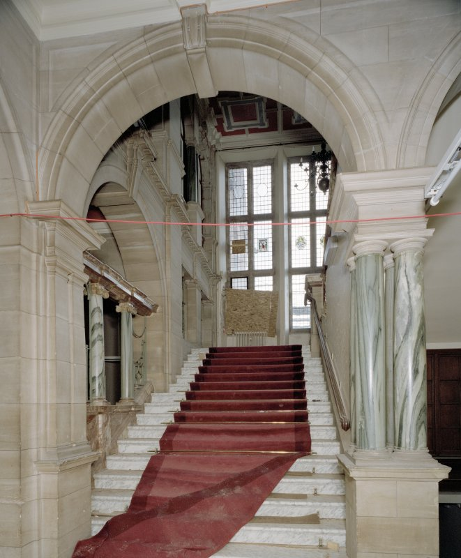 Interior. Ground floor, view of main staircase