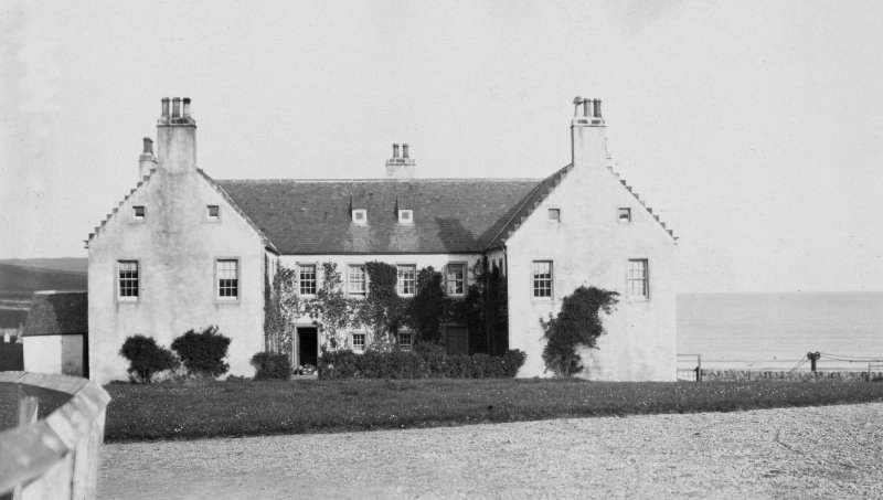 Digital copy of general view of main front of Balnakeil House from SW. From photographic print pasted into A O Curle's 'Sutherland' journal (MS 36/9, page 86).