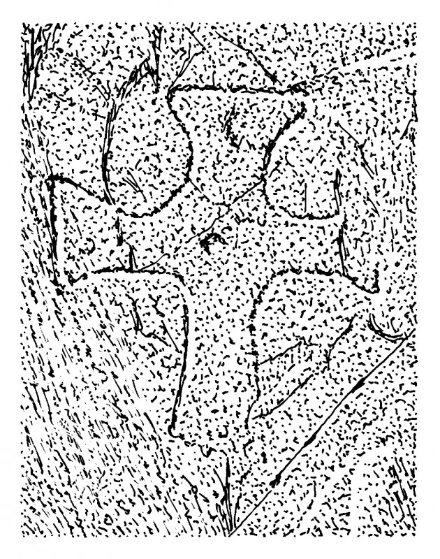 Scanned ink drawing of incised outline cross with expanded arms and central dot