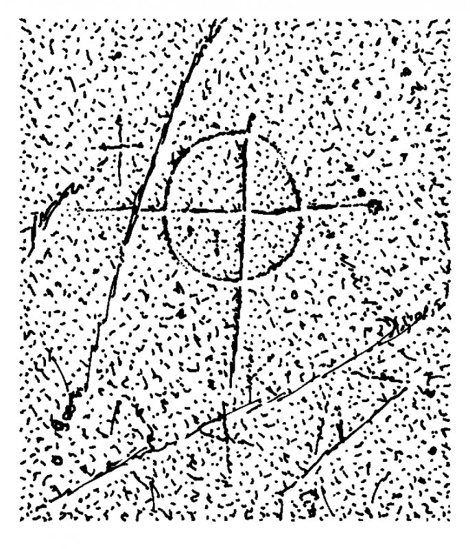 Scanned ink drawing of incised linear cross with circle
