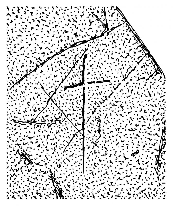 Scanned ink drawing of incised linear cross