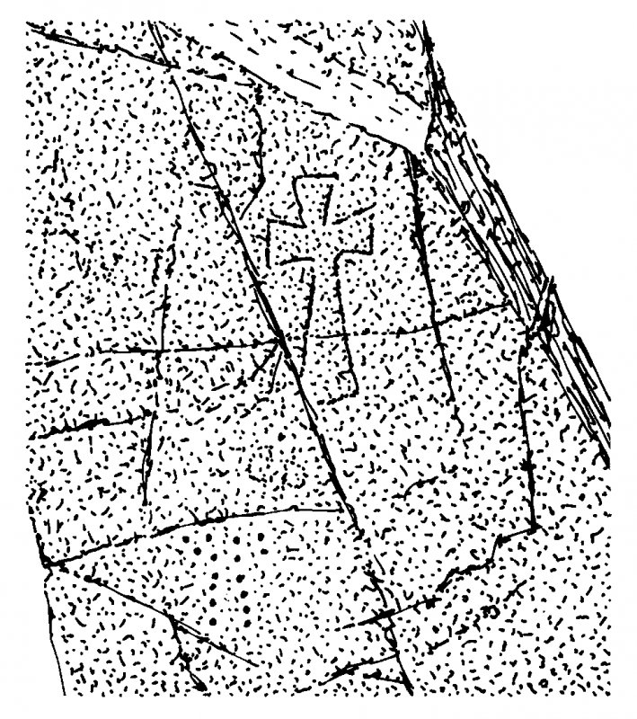 Scanned ink drawing of incised outline cross