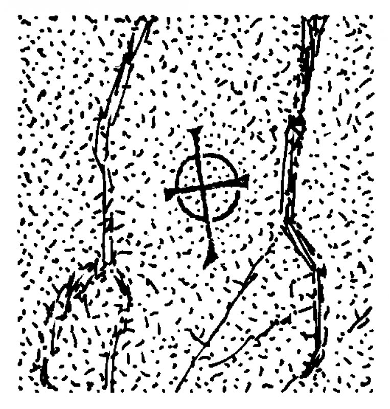 Scanned ink drawing of incised linear cross with expanded terminals and circle