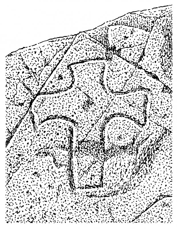 Scanned ink drawing of incised outline cross with expanded arms, straight shaft and central dot