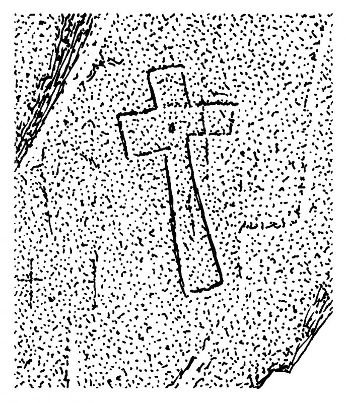 Scanned ink drawing of incised outline cross with central dot