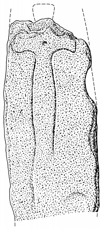 Scanned ink drawing of Anwoth cross-slab