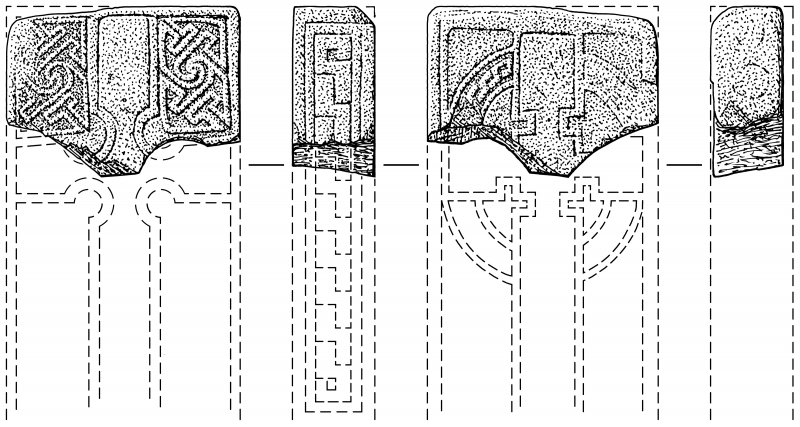 Scanned ink drawing of Leuchars Pictish cross-slab fragment