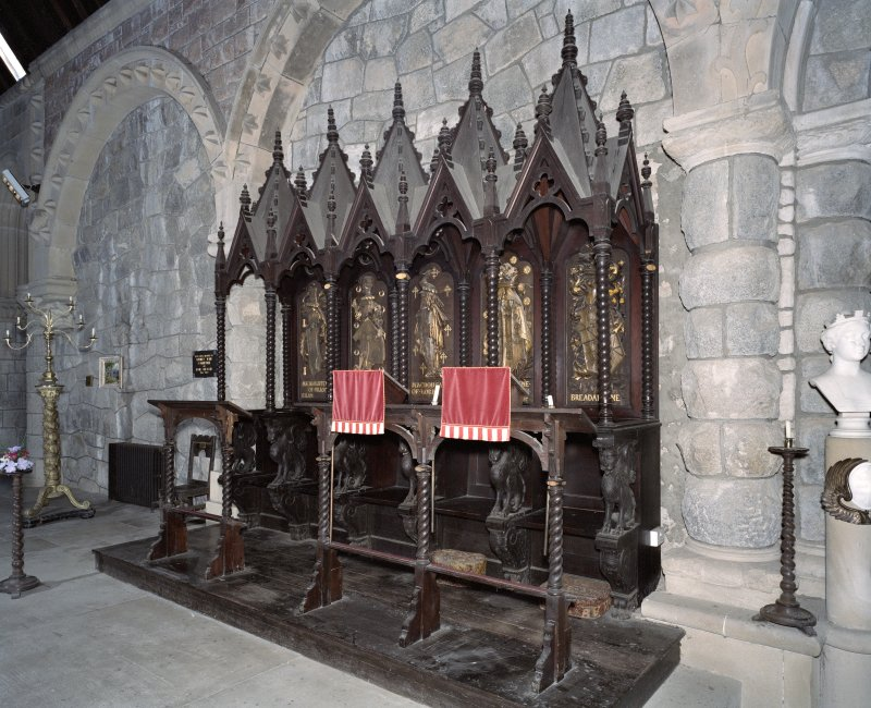 Interior. S choir stalls, view from NW