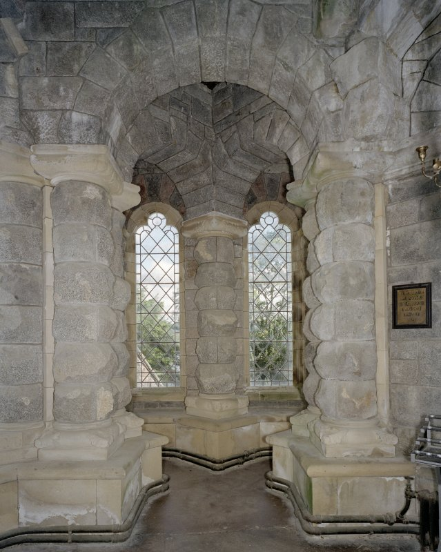 Interior. Window recess at E end of S aisle, view from NW