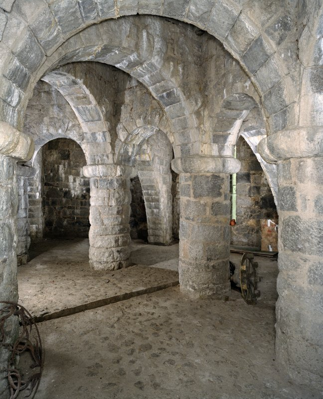 Interior. Undercroft, view from SW