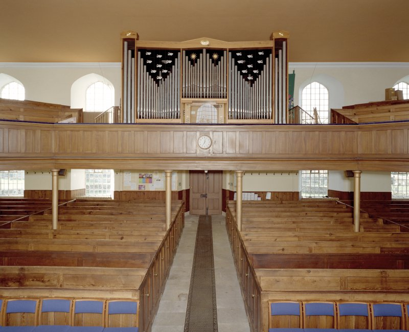 Interior. View from E showing gallery and organ