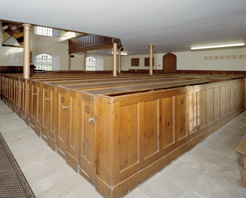 Interior. Detail of box pews