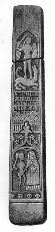 Tiree, Soroby, Burial Ground. Sketch of front of shaft cross PB2 showing Prioress Anna MacLean.