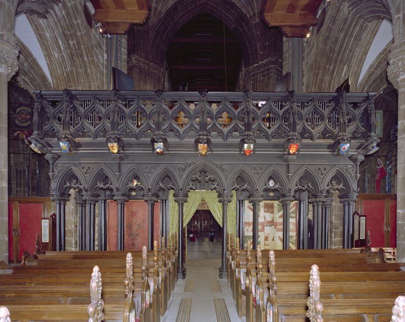 Digital copy of a photograph of interior. View of choir screen.