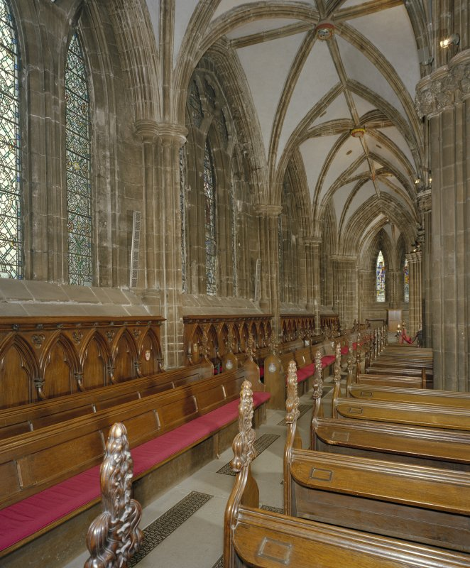Digital copy of photograph of interior. View of N aisle of choir from WSW.