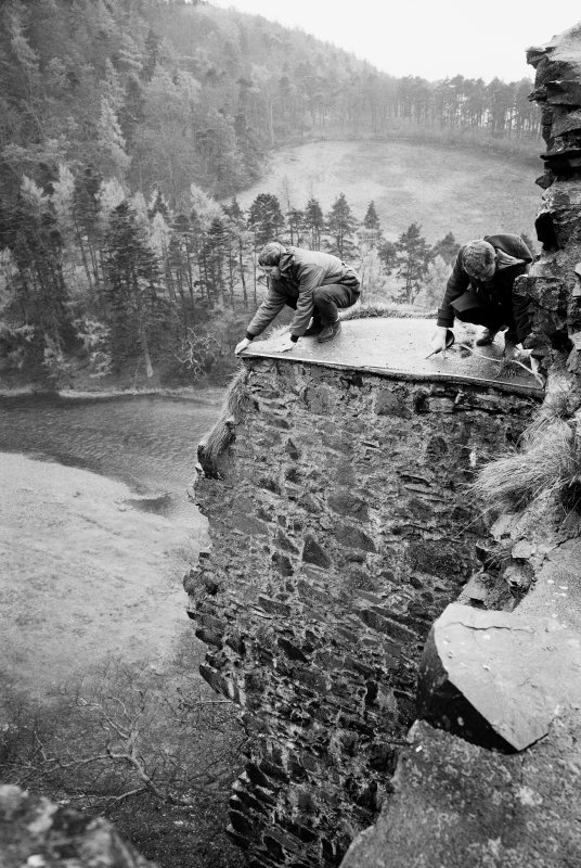 View of the RCAHMS survey team in action at Neidpath Castle (left, Sam Scott, right, Douglas Fleming).