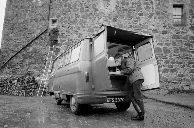 Neidpath Castle View of Commer van in use with Sam Scott, RCAHMS surveyor.