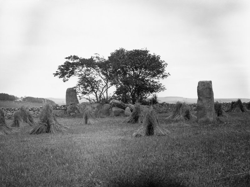 Auchmachar: Circle near Parkhouse, Old Deer. Two stones standing 9 + 6ft high. Diameter 48ft