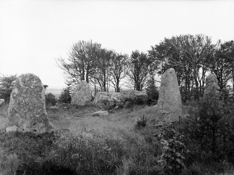 Circle at Parkhouse Hill. Four stones standing. Diameter 45ft. Altar stone 15x4.5x5ft. Highest stone 7ft