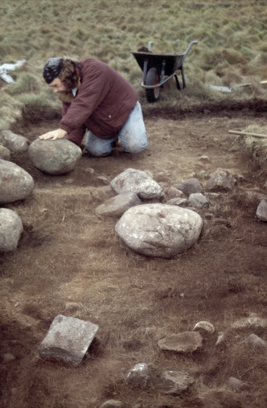 Excavation photographs: General shot of outer-most rampart at Brown Caterthun