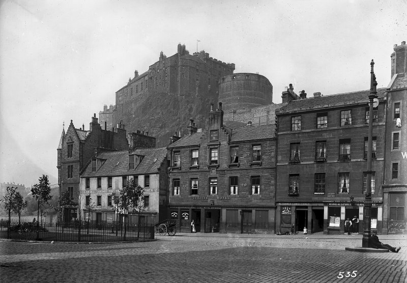 View of Castle from Grassmarket and Nos 10 - 28 even in foreground