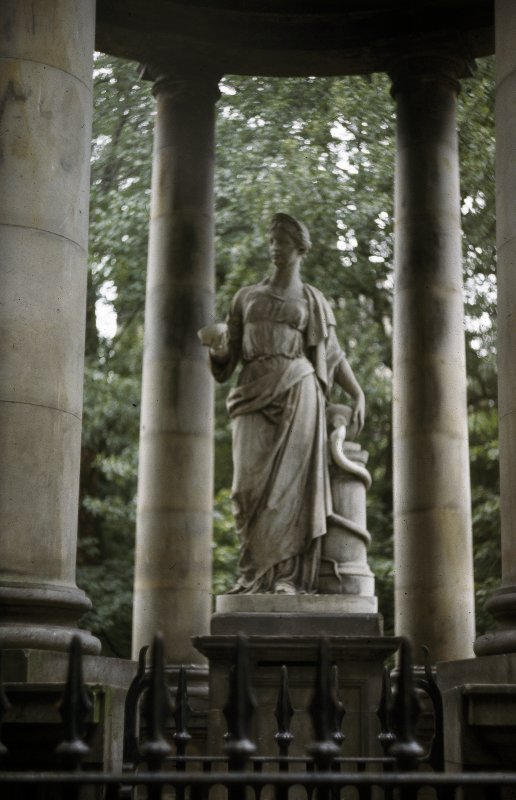 View of St. Bernard's Well located on the Dean Path showing statue of Hygeia.