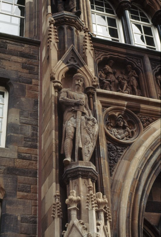 View of the statue of William Wallace located on the exterior of the National Portrait Gallery, Queen Street.