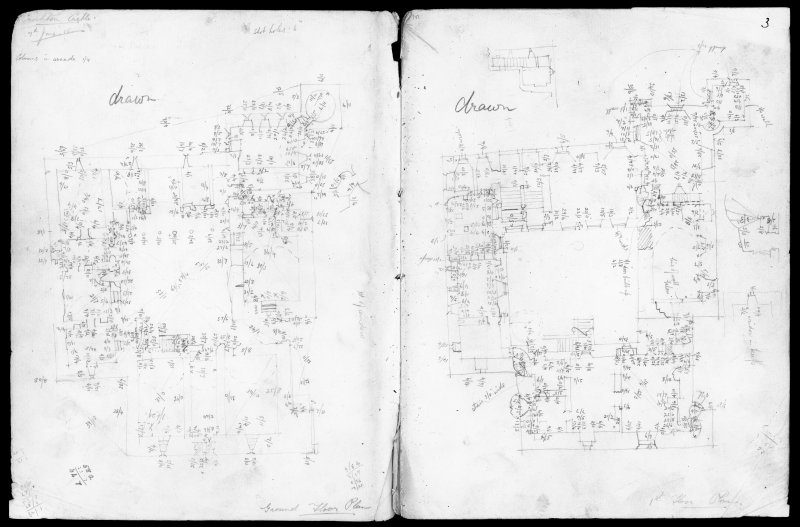 Extract from field notebook for Midlothian, West Lothian and Edinburgh by Charles S T Calder showing detailed drawing of Crichton Castle surveyed 7th June 1915.