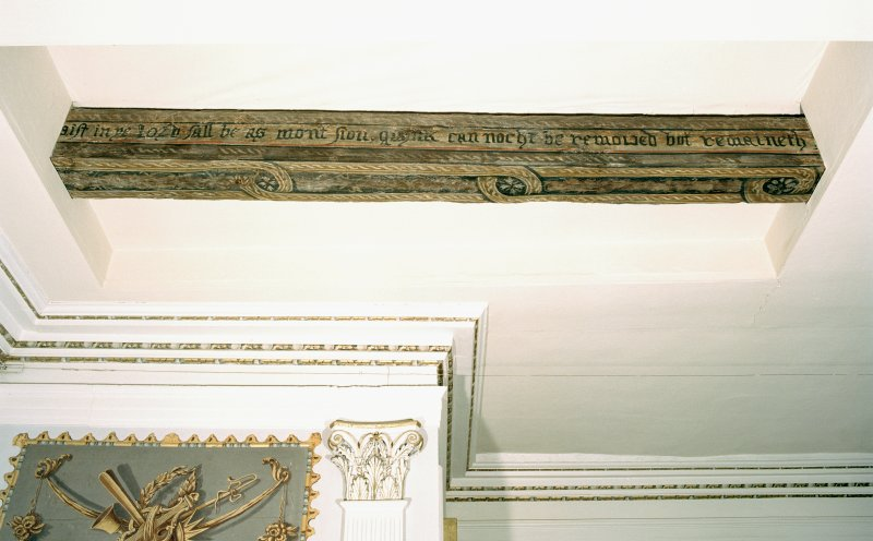 Interior. First floor, high drawing-room, detail of exposed painted beam.