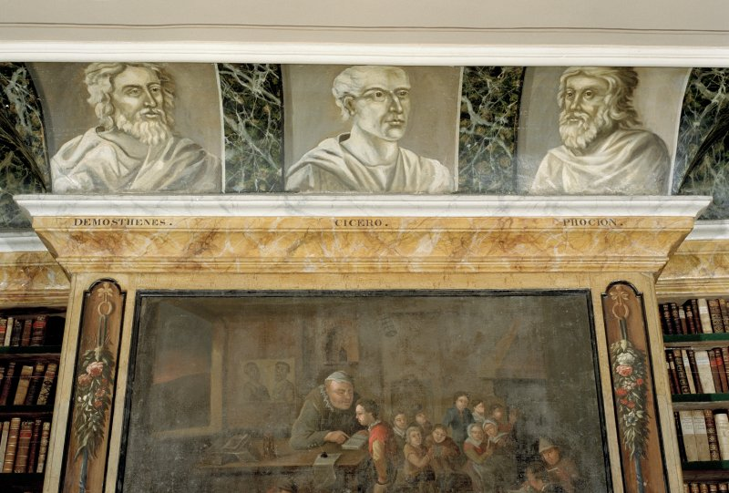 Interio.r. Third floor, Library, detail of painted classical scholars, (Demosthenes, Cicero and Phocion) above fireplace.