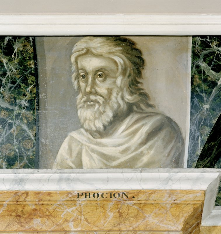 Interior. Third floor, Library, detail of painted classical scholar (Phocion).