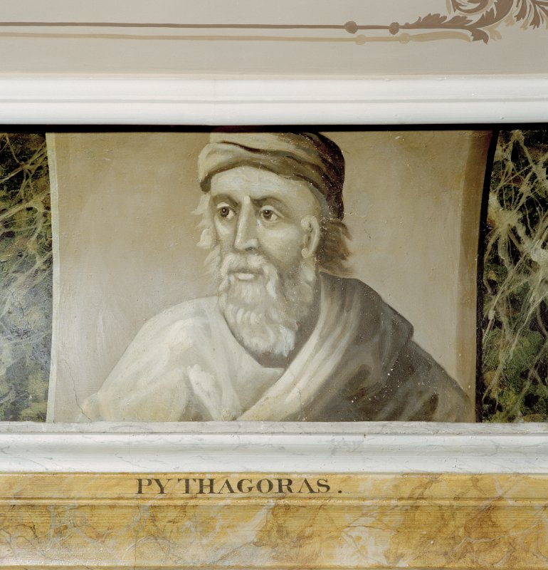 Interior. Third floor, Library, detail of painted classical scholar (Pythagoras).