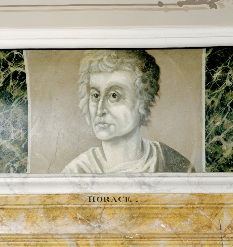 Interior. Third  floor, Library, detail of painted classical scholar (Horace).