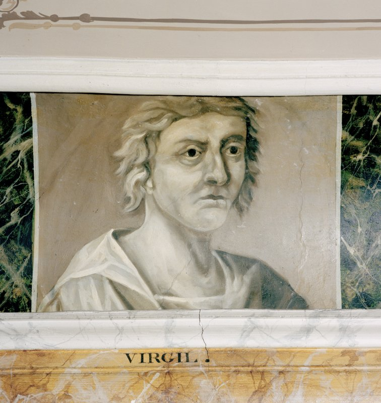 Interior. Third floor, Library, detail of painted classical scholar (Virgil).