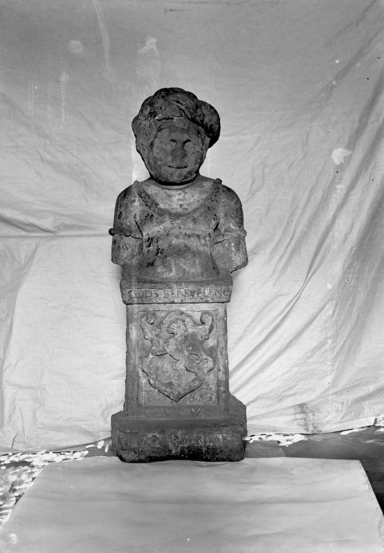 Bust on pedestal, found in Lawnmarket, kept in Huntly House