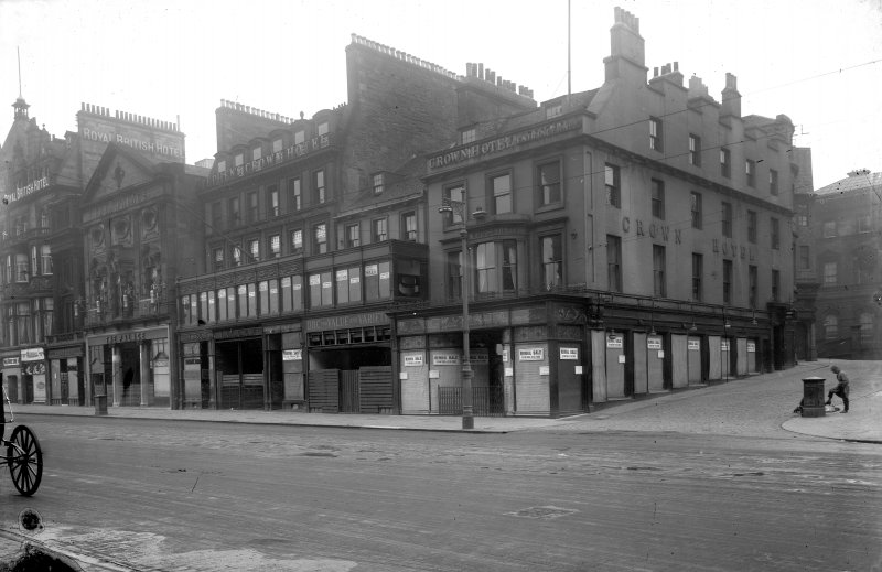 View from south east of 10 - 20 Princes Street with the Crown Hotel in foreground, before demolition.