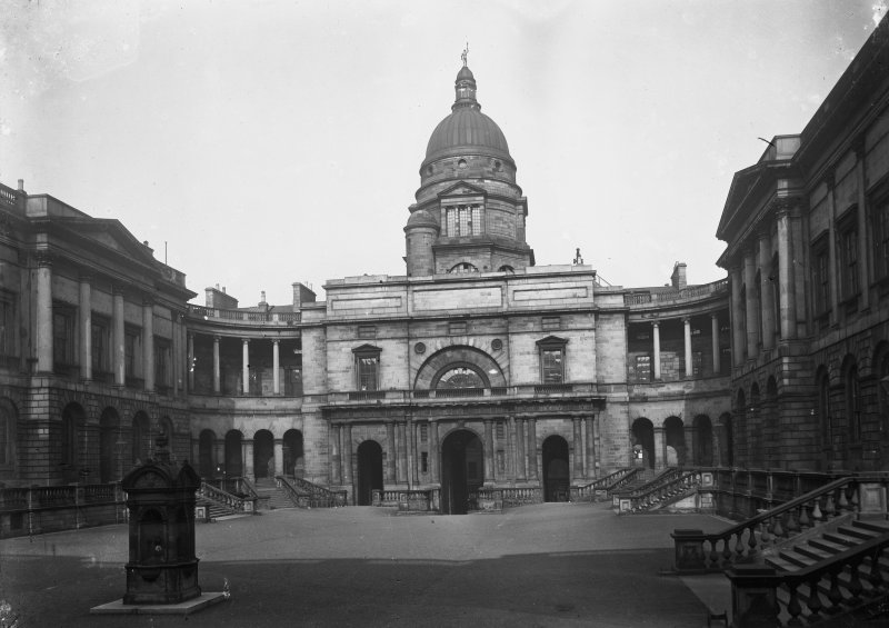General view of Quadrangle looking East towards dome, with fountain in foreground