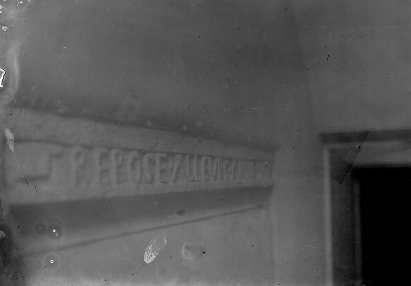 View of the engraved lintel over the original entrance doorway.