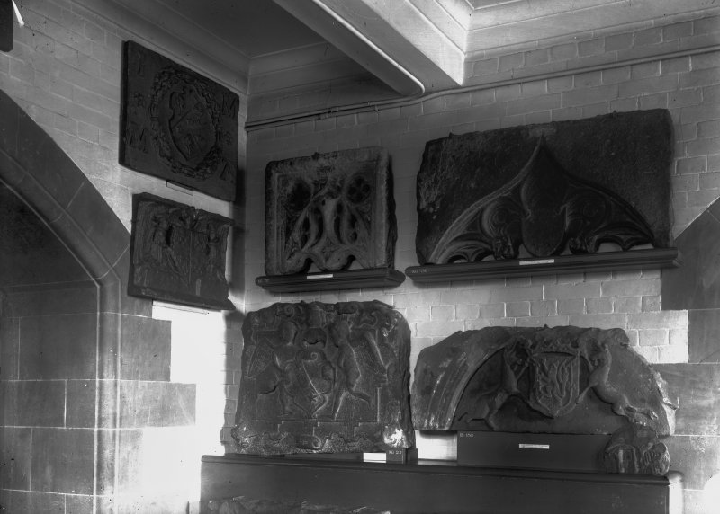 Interior, view of carved stones.