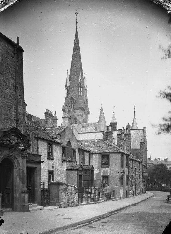 General view from South of Wright's Houses (North of Golf Tavern), including steeple of Barclay Church, Edinburgh.